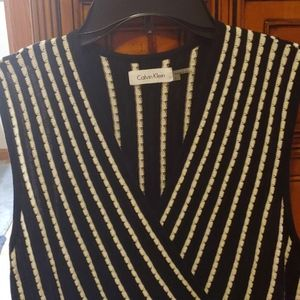 Calvin Klein black white knit dress